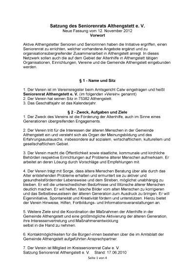 Satzung des Seniorenrats Althengstett_